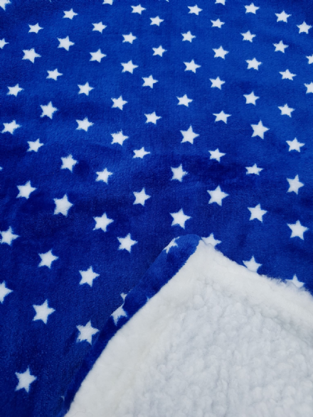 Royal blue cuddle fleece WHITE STAR blanket